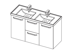 Dawn 1200 Wall Double - 2 Door 2 Drawer (bin)